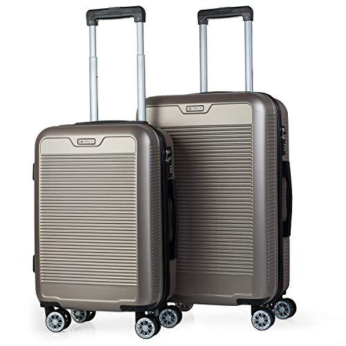 ITACA - Juego Maletas de Viaje Trolley Set 55/67 cm ABS. Rígidas, Resistentes y Ligeras. Mango, Asas, 4 Ruedas. Candado. Pequeña Cabina Low Cost Ryanair y Mediana. T72015, Color Dorado