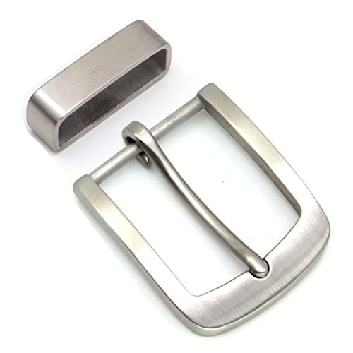 LUCKINLUCKY Stainless Steel Belt Buckle with Loop Single Prong Buckle for 1 1/2' 38mm (S803)