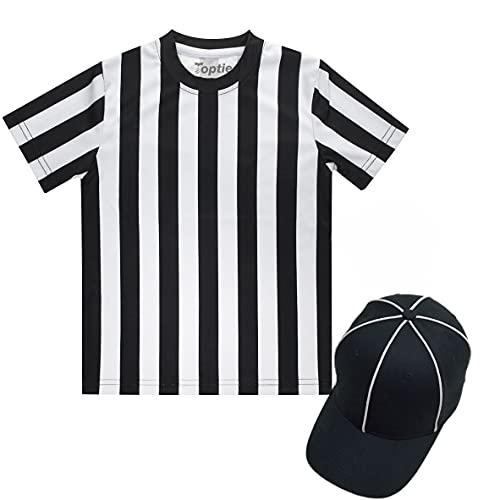TOPTIE Camiseta de árbitro para niños Disfraz Camiseta para niños pequeños, camiseta de fútbol deportiva, sombrero de árbitro, silbato de metal con cordón-XS