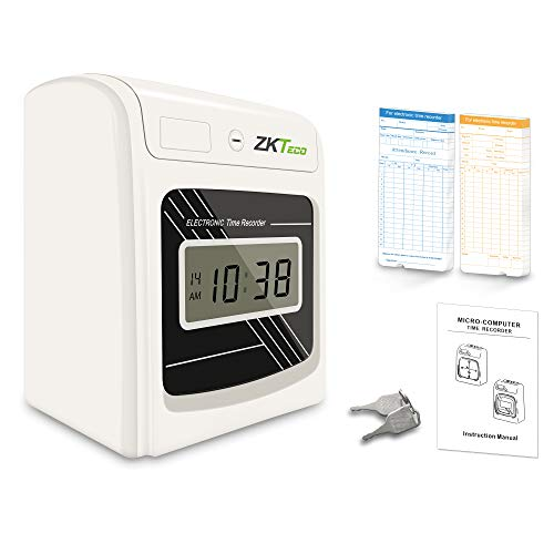 ZKTeco Punch Time Clock Bundle with 100 Time Cards, Starter Time Clocks for Employees Small Business - Attendance Checks in Punch Time Stamp Machine Calculating (PH601N)