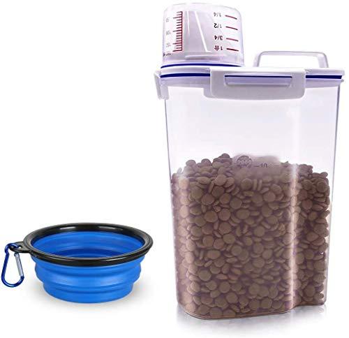 MMBOX Contenitore per alimenti per animali domestici, contenitore ermetico in plastica con misurino graduato, beccuccio versabile e ciotola portatile pieghevole per gatti, uccelli e semi (blu)