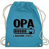 Shirtracer Opa Geschenke - Opa loading 2021 mit Babyflasche - schwarz - Unisize - Hellblau - Statement - WM110 - Turnbeutel und Stoffbeutel aus Baumwolle