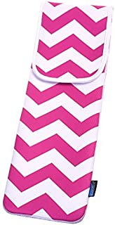 BCP 15 x 5 Inches Hot Pink Color Bold Chevron Water-resistant Neoprene Curling Iron Holder Flat Iron Curling Wand Travel Cover Case Bag Pouch