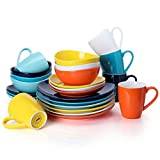 Sweese 199.002 Porcelain Dinnerware Set, 24-Piece, Service for 6, Hot Assorted Colors