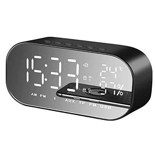 Angelay-Tian Radio Altavoz Bluetooth, Radio FM Bluetooth 4.2 Conexión, Reloj de Espejo LED for Dormitorio Inicio de Audio de Escritorio (Size : A)