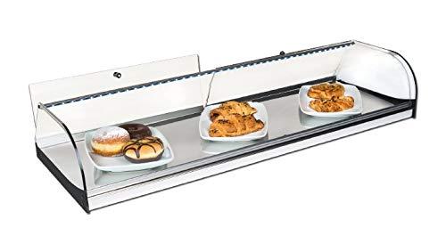 Vitrina expositora alimentos, ideal barra bar para los aperitivos, cristal curvo y iluminación LED
