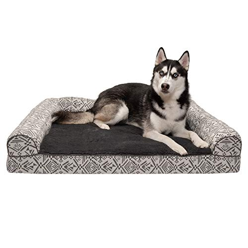 Furhaven Pet Dog Bed - Orthopedic Plush Kilim Southwest Home Decor Traditional Sofa-Style Living Room Couch Pet Bed with Removable Cover for Dogs and Cats, Boulder Gray, Jumbo