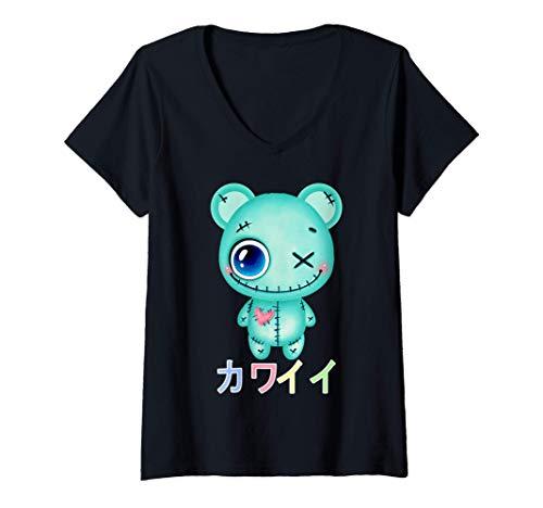 Damen Creepy Pastell Teddy Bär Japanische Sad Ästhetik T-Shirt mit V-Ausschnitt