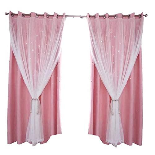 Moda Doble Cortinas Blackouts Hollow Star Ventana Pink Dapas con Tul para Sala De Estar Dormitorio para Niños 100 * 250 Cm