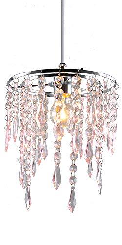 Paralume di cristallo moderno cromato lampadario a sospensione paralume a 2 ripiani in cristallo acrilico con gocce rosa effetto gioiello, cornice cromata e perline rosa, PS06PK