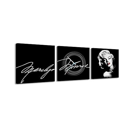 Quadratische Uhr Unterschrift Marilyn Monroe Gesicht Schwarzer Hintergrund Schwarz-Weiß-Unterschrift Wanduhr