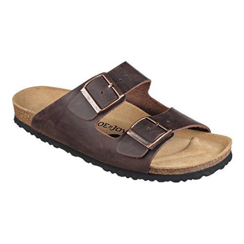 JOE N JOYCE LONDON Unisex Sandals with a Comfort-Footbed for Men & Women, normal width, Size: W11/M9 US, Darkbrown, Leather, two strap, 2 band, Girls, Boys, Ladies