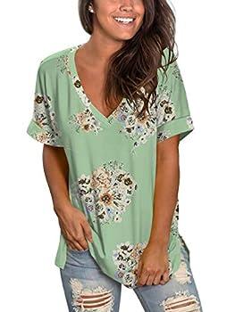 Ladies Business Casual Tops Low Cut Flowy Womens T-Shirts Hawaiian Tees Summer M
