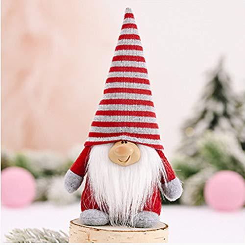 Shan-S Christmas Gnome Mini Plush Handmade Santa Cloth Doll Snowman Figurines Xmas Figurines Toy Birthday Present Nordic Elf Figurine Sitting Long-Legged Topper for Home Christmas Holiday Decoration