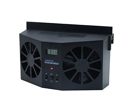 Garyesh Tragbar Solar Dual Ventilator Kühler Lüfter Autofenster Luftentlüftungsventilator Mini-Klimaanlage Kühler Lüfter (Schwarz)