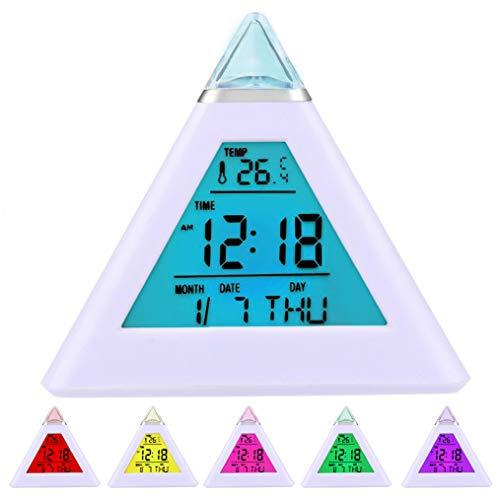 DIGIFLEX Digitaler Pyramiden-Wecker mit 7 Farbwechsel LEDs