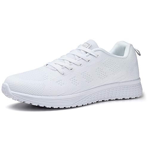 HKR Damen Sportschuhe Laufschuhe Atmungsaktiv Leichte Turnschuhe Gym Fitness Sneaker für Damen Weiß EU 40