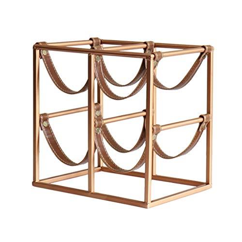 Vinflaskställ Europeisk smidesjärn Vinställ Hem Skrivbord Dekoration Metall Vinställ Kreativ Läder Vinställ (Guld) Skrivbordsvinställ