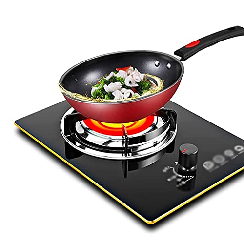 XBR Professional gas cooker, Gas Stove,Gas Hob,Black Tempered Glass Single Burner , Infrared Cooktop, For Warming, Cooking, Boiling, Frying, ering [Energy Class A] (LPG)