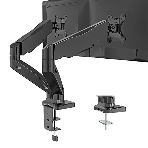 WALI Dual Monitor Stand Fully Adjustable Gas Spring Desk Mount Swivel VESA Bracket with C Clamp, Grommet Mounting Base for Display Up to 32 Inch,19.8lbs. Capacity (GSMP002), Black