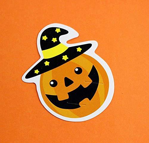 XJIUER Halloween Dekoration 50 Teile/los Nette Kürbis Stil DIY Süßigkeiten Dekorationen Papierkarten Lutscher Karten Kinder Tag Party B