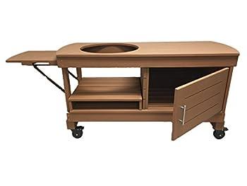 J S Designs Shop LLC Big Green Egg Cabinet Table for Large BGE with Free Drop Leaf Shelf