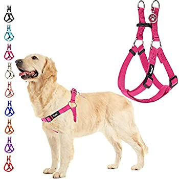 PUPTECK No Pull Dog Harness Soft Adjustable Basic Nylon Step in Puppy Vest Outdoor Walking with ID Tag