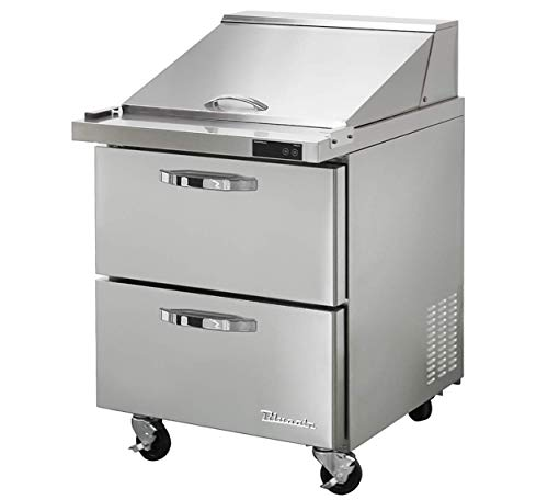 Blue Air BLMT28-D2-HC 2 Drawer 28 inches Mega Top Refrigerated Sandwich/Salad Prep Table, 7 cu. ft