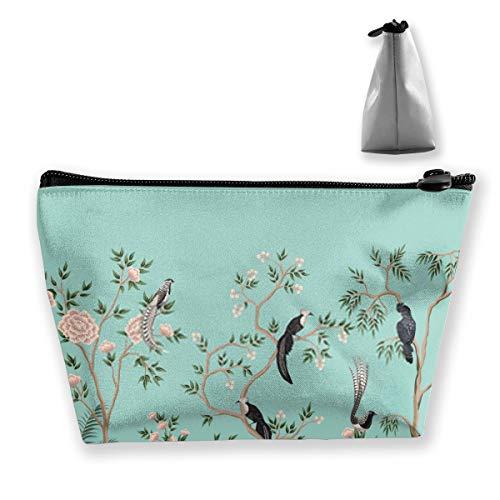 Vintage Chinoiserie Blumen Rosenbaum Pflanze Vogel Grenze Türkis BackgrPersonalisierte Reise Make-up Tasche, Kosmetiktasche Bleistiftbeutel mit Reißverschluss