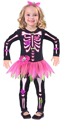 Childs Fancy Bones Skeleton Costume Dress (Age 2-3 Years)