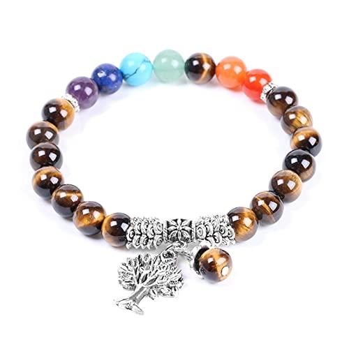TTGE Pulsera de Ojo de Tigre para Hombre, Cuentas de Piedra Natural, 7 Chakras, brazaletes de Cuerda elástica, Color Plata Antigua, joyería del árbol de la Vida