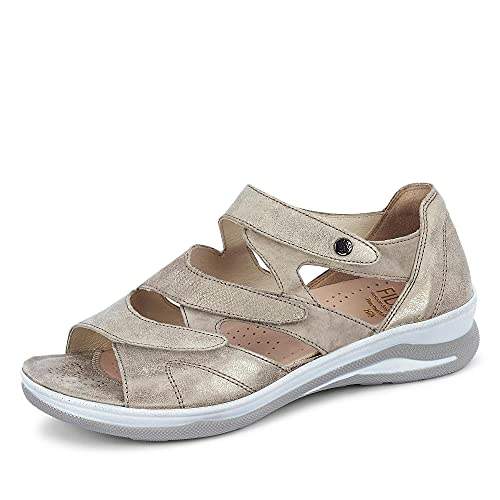 Fidelio 496006 Damen Sandale Glattleder flexibel Synthetiksohle Metallic Uni, Groesse 37, Taupe