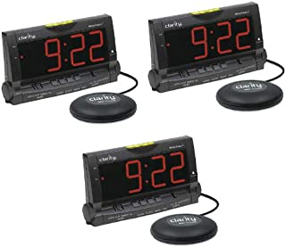 Alarm Clock with Bed Shaker and Lamp Flasher- Packs (3 Pack)
