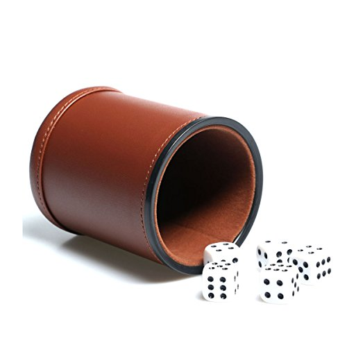 Professional Dice Cup with 20 Dot Dices Set Quality Red and Black Leather for Playing Games//Travel//Pub//Bar//Yahtzee//Farkle//Casino Theme//Craps//Party Favors//Toy Gifts 4 Pack Leatherette Dice Cup Set