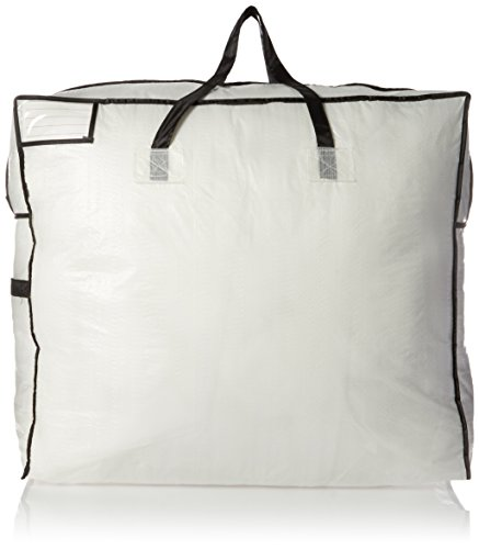 Household Essentials 2622 MightyStor Large Storage Bag with Handles | Clothing and Linen Storage Bag | White Tarp with Black Trim