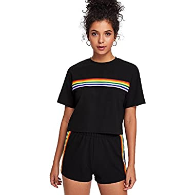 Romwe Women's 2 Piece Set Rainbow Print Casual Crop Cami Top with Shorts Black M