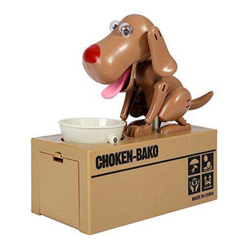 Hucha de juguete de perro hambriento comiendo, regalo para niños y adultos, marrón