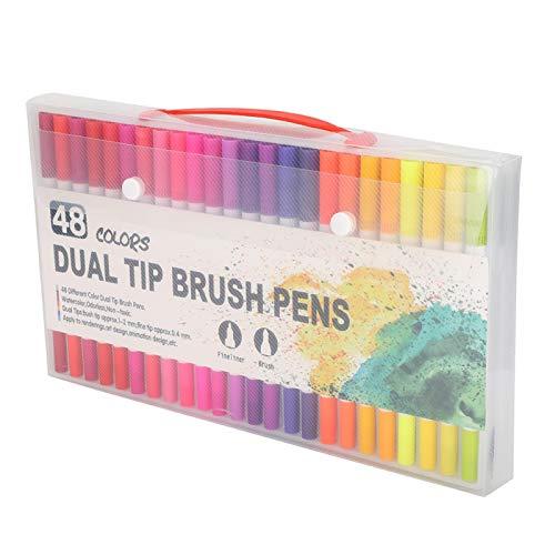 Juego de bolígrafos de doble punta, juego de bolígrafos de acuarela, 48 piezas de bolígrafos, seguro para libros de colorear para adultos, caligrafía, regalos escolares para estudiantes