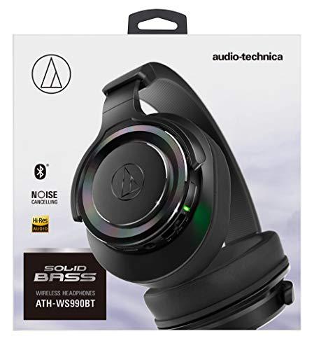 audio-technicaワイヤレスヘッドホンBluetoothマイク付き重低音ノイズキャンセリング密閉型ブラックATH-WS990BTBK
