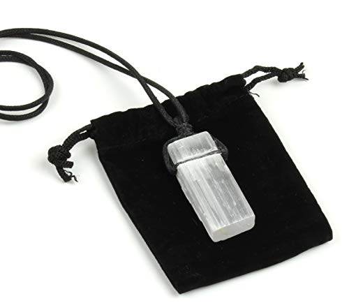 Dancing Bear Selenite Crystal Pendant Necklace, 24&Quot; Hand-Knotted Cord, Perfect, Educational Id Card, Chakra, Healing, Ritual, Lucky Protection Grid Stone