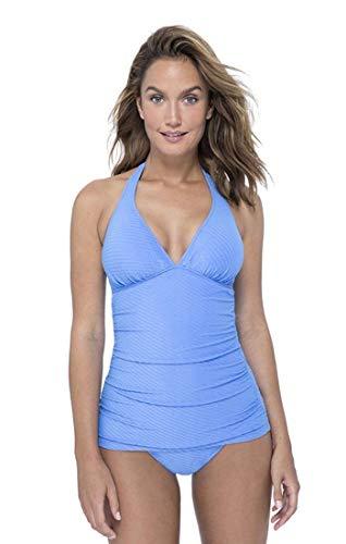 Profile by Gottex Women's Halter V-Neck Tankini Top Swimsuit, Ribbons Bondi Blue, 12