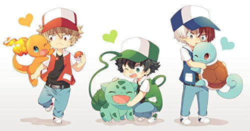 Crossover Poster Print,Anime Wall Decoration,Pokemon Art Poster,Boys Art Print,Anime Watercolor Print (XL - 24'' x 36'')