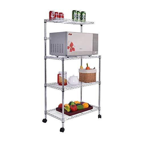 ZM& 3-stöckiges Küchenrollgestell Einfacher Moderner Multifunktionaler Aufbewahrungswagen Aus Schmiedeeisen Mit Großer Kapazität Mikrowellen-Aufbewahrungsgestell