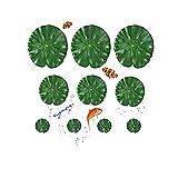 GZGXKJ 10 Piezas 3 Tipos de Hoja de Loto Artificial EVA Flotante Flotante Decoración de Estanque Follaje Nenúfar para Patio Estanque de Pez Koi Pileta Acuario(17cm,15cm,10cm)