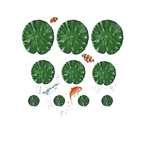 GZGXKJ 10 Pièces 3 Sortes de Feuilles de Lotus Artificielles Ornement en Mousse Flottante Feuille de Nénuphars Décor d'Étang Feuilles de Nénuphar Décoration pour Jardin Aquarium(17cm,15cm,10cm)