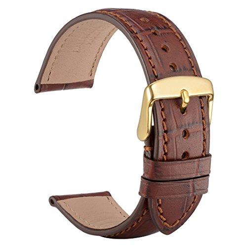 WOCCI 18mm Cinturino orologio in alligatore sbalzato con fibbia in oro,...