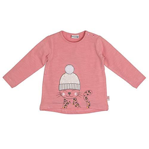 Salt & Pepper Baby-Mädchen Lovely Katze mit Pudelmütze Langarmshirt, Rosa (Dusty Pink 824), (Herstellergröße: 74)