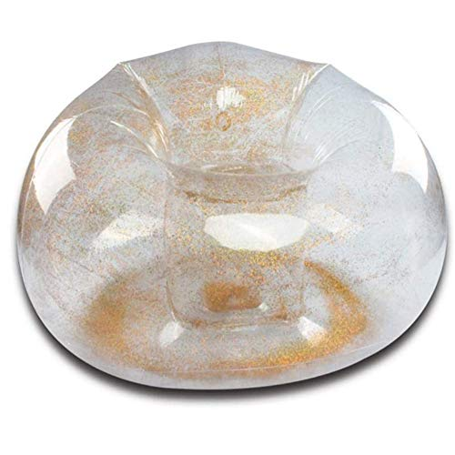 ZYQDRZ Sofá Inflable Transparente, El Material De PVC Es Plegable, Simple Y FáCil De Almacenar con Bomba Inflable, Adecuado para La HabitacióN De Los NiñOs, El Dormitorio, La Fiesta,Gold