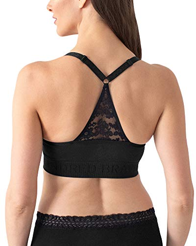 Kindred Bravely Sublime Lace Back Seamless Nursing Bra | Wireless Racerback Maternity Bra (Small) Black