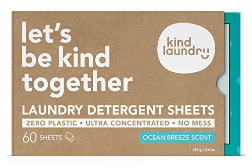 KIND LAUNDRY Detergent Sheets (60 loads, Ocean Breeze) - Hypoallergenic Eco-friendly & Biodegradable Eco-Strips for Sensitive Skin Zero Waste & Plastic Free Alternative - Good for Babies & Infants